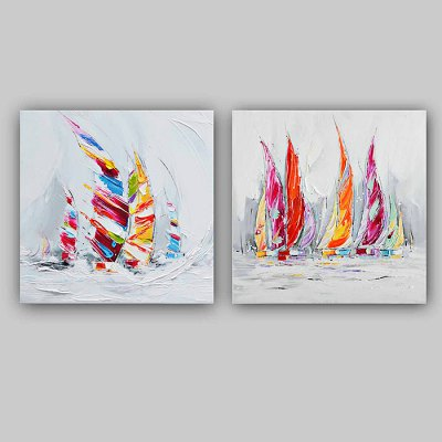 Modern Hand Painted Canvas Sailboat Oil Painting