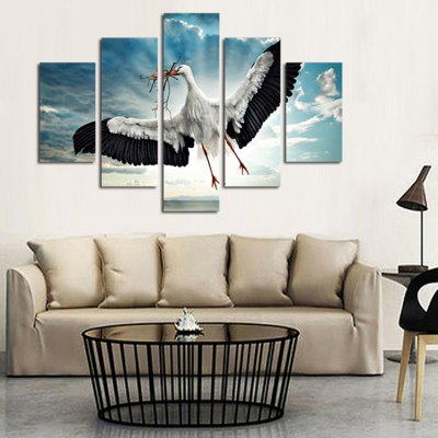5PCS Egret Print Canvas Wall Decoration
