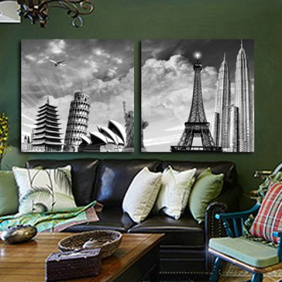 2PCS Tower and Leaning Tower Printing Canvas Wall Decoration