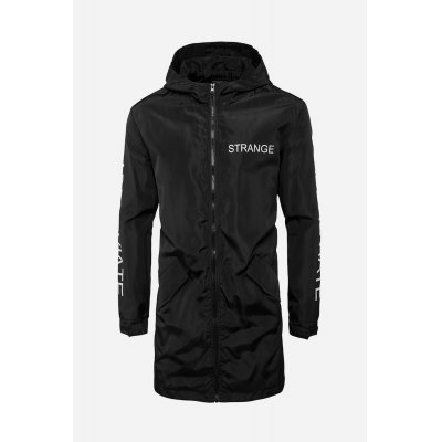 Male Fashionable Letter Printing Zipped Water Resistant Long Hooded Jacket