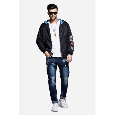 Thin Large Size Loose Zipped Baseball Hooded Coat