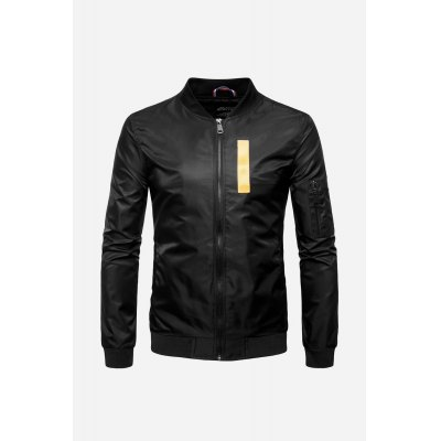 Male Fashionable Solid Stand Collar Zipped Color Block Flight Outwear Jacket