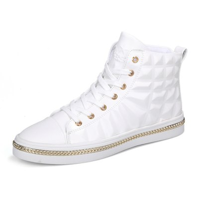 Men Chic High Top Skateboarding ShoesMen's Sneakers<br>Men Chic High Top Skateboarding Shoes<br><br>Closure Type: Lace-Up<br>Contents: 1 x Pair of Shoes<br>Materials: PU, Rubber, Mesh<br>Outsole Material: Rubber<br>Package Size ( L x W x H ): 32.00 x 26.00 x 12.00 cm / 12.6 x 10.24 x 4.72 inches<br>Package Weights: 1.12kg<br>Seasons: Autumn,Spring<br>Style: Fashion<br>Type: Skateboarding Shoes<br>Upper Material: PU