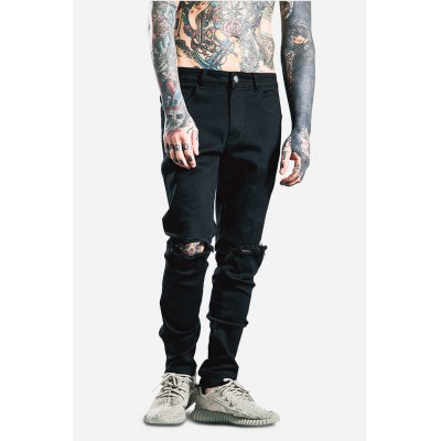 Male Fashionable Casual Zipped Elastic Ripped Pencil Pants