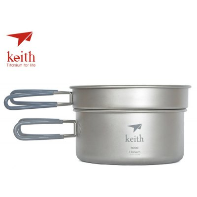 Keith Ti6016 Portable Titanium 0.6L + 0.95L Camping Pot Set