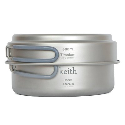Keith Ti6016 Portable Titanium 0.6L + 0.95L Camping Pot SetCamp Kitchen<br>Keith Ti6016 Portable Titanium 0.6L + 0.95L Camping Pot Set<br><br>Best Use: Backpacking,Camping,Climbing,Hiking<br>Brand: Keith<br>Features: Ultralight, Portable, Foldable, Easy to use, Durable<br>Material: Titanium<br>Package Contents: 1 x Keith Ti6016 0.6L Pot, 1 x 0.95L Pot, 1 x Mesh Pouch<br>Package Dimension: 16.50 x 16.50 x 9.50 cm / 6.5 x 6.5 x 3.74 inches<br>Package weight: 0.3500 kg<br>Product Dimension: 15.90 x 15.90 x 7.80 cm / 6.26 x 6.26 x 3.07 inches<br>Product weight: 0.1880 kg<br>Type: Pot