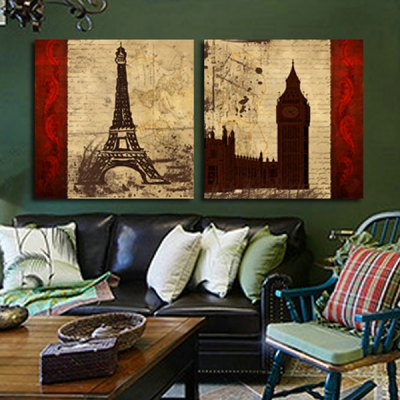 2pcs Tower Style Printing Canvas Wall Decoration