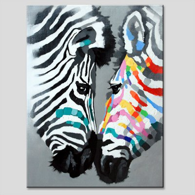 YHHP Zebra Lovers on Canvas Wall Oil Painting
