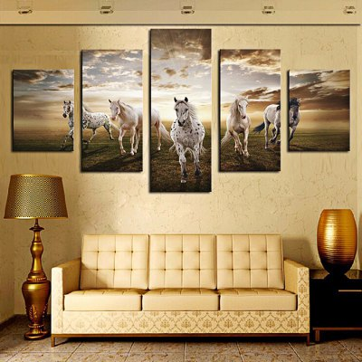 White Horses Printing Canvas Wall Decoration
