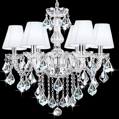 European Crystal 6 Head Glass Chandelier 220VChandelier<br>European Crystal 6 Head Glass Chandelier 220V<br><br>Battery Included: No<br>Bulb Base: E14<br>Bulb Included: No<br>Chain / Cord Adjustable or Not: Chain / Cord Adjustable<br>Chain / Cord Length ( CM ): 40cm<br>Features: Crystal, Eye Protection<br>Fixture Height ( CM ): 58cm<br>Fixture Length ( CM ): 60<br>Fixture Width ( CM ): 60cm<br>Light Direction: Downlight<br>Light Source Color: Warm White<br>Number of Bulb: 6 Bulbs<br>Number of Bulb Sockets: 6<br>Package Contents: 1 x Light, 1 x Assembly Parts<br>Package size (L x W x H): 70.00 x 70.00 x 70.00 cm / 27.56 x 27.56 x 27.56 inches<br>Package weight: 8.0300 kg<br>Product weight: 7.0000 kg<br>Remote Control Supported: No<br>Shade Material: Glass, Iron<br>Style: Modern/Contemporary<br>Suggested Room Size: 20 - 30?<br>Suggested Space Fit: Bedroom,Dining Room,Kitchen,Living Room,Study Room<br>Type: Chandeliers<br>Voltage ( V ): AC220