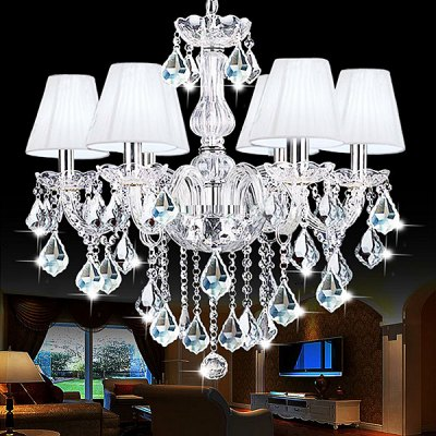 European Crystal 6 Head Glass Chandelier 220V