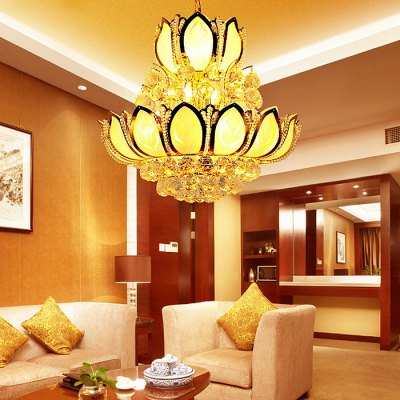 Home Lighting Lotus Shape LED Crystal Chandelier 220VPendant Light<br>Home Lighting Lotus Shape LED Crystal Chandelier 220V<br><br>Battery Included: No<br>Bulb Base: E14<br>Bulb Included: No<br>Chain / Cord Adjustable or Not: Chain / Cord Adjustable<br>Chain / Cord Length ( CM ): 50 - 200cm<br>Features: Eye Protection<br>Fixture Height ( CM ): 50cm<br>Fixture Width ( CM ): 50cm<br>Light Direction: Downlight<br>Light Source Color: Warm White<br>Number of Bulb: 10 Bulbs<br>Number of Bulb Sockets: 10<br>Package Contents: 1 x Light, 1 x Assembly Parts<br>Package size (L x W x H): 60.00 x 60.00 x 60.00 cm / 23.62 x 23.62 x 23.62 inches<br>Package weight: 19.0500 kg<br>Product weight: 18.0000 kg<br>Remote Control Supported: No<br>Shade Material: Glass, Iron<br>Style: Modern/Contemporary<br>Suggested Room Size: 60? or more<br>Suggested Space Fit: Bedroom,Dining Room,Kitchen,Living Room,Study Room<br>Type: Chandeliers<br>Voltage ( V ): AC220