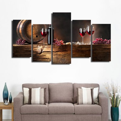 5PCS Printed Wineglass Painting Canvas Print Room Decor