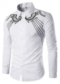 Men Casual Button Down Long Sleeve Embroidery Shirt