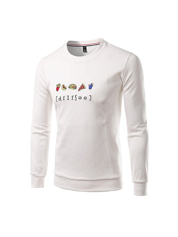 Buy Men Casual Long Sleeve Crew Neck Sports Sweatshirt M WHITE