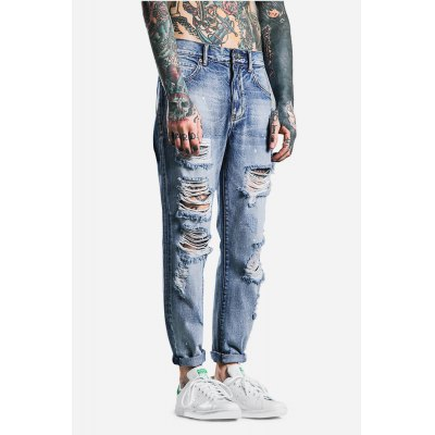 Male Fashionable Street Washed Ripped Ninth Jeans