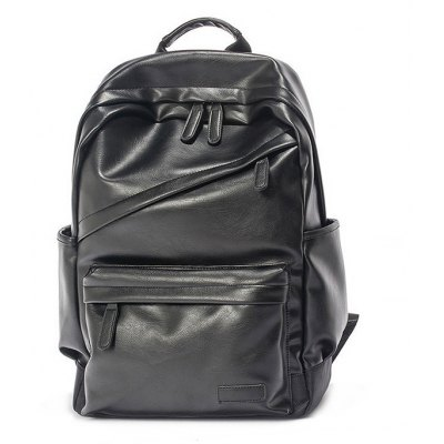 Men Leisure PU Solid Color Large Capacity Backpack