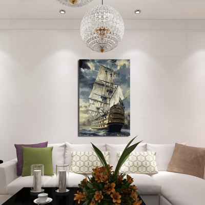 1PC Offshore Sailboat Printed Canvas Wall Sticker