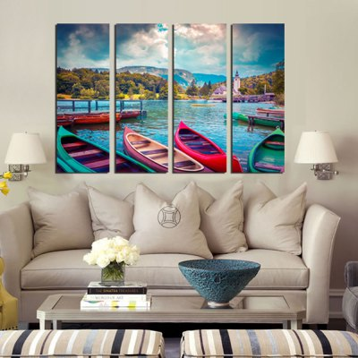 4PCS Boats Waterscape Printed Canvas Wall Sticker