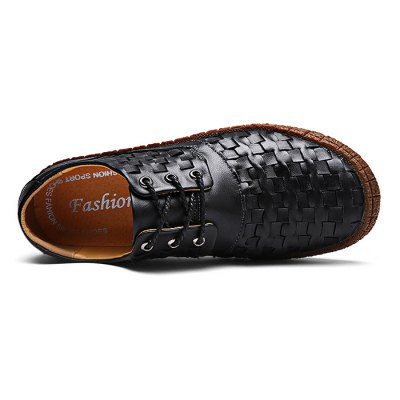 Manual Soft Slip Resistance Lace Up Leather Shoes for MenMen's Oxford<br>Manual Soft Slip Resistance Lace Up Leather Shoes for Men<br><br>Closure Type: Lace-Up<br>Contents: 1 x Pair of Shoes<br>Decoration: Weave<br>Function: Slip Resistant<br>Materials: Rubber, Leather<br>Occasion: Casual, Daily<br>Outsole Material: Rubber<br>Package Size ( L x W x H ): 33.00 x 22.00 x 11.00 cm / 12.99 x 8.66 x 4.33 inches<br>Package Weights: 0.98kg<br>Pattern Type: Solid<br>Seasons: Autumn,Spring<br>Style: Modern, Leisure, Fashion, Comfortable, Casual, Business<br>Toe Shape: Round Toe<br>Type: Casual Leather Shoes<br>Upper Material: Leather