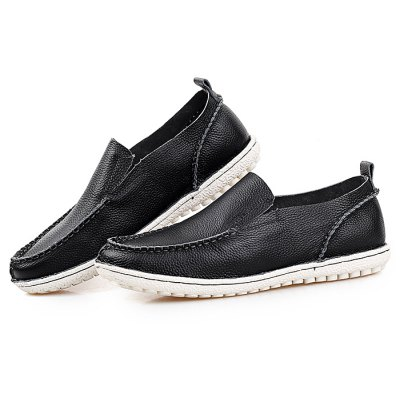 Male Casual Soft Slip On Stitching Leather Boat Shoes