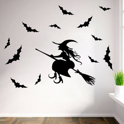 DIY Removable Bat / Witch Decal Wallpaper Wall Sticker