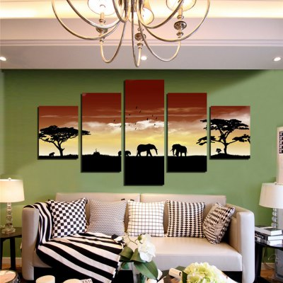 5PCS Savannah Sunset Elephants Printed Canvas Wall StickerWall Stickers<br>5PCS Savannah Sunset Elephants Printed Canvas Wall Sticker<br><br>Art Style: Oil Paiting<br>Functions: Decorative Wall Stickers<br>Hang In/Stick On: Bedrooms,Cafes,Hotels,Living Rooms,Offices<br>Material: Canvas<br>Package Contents: 5 x Savannah Sunset Printed Canvas Wall Sticker Wallpaper<br>Package size (L x W x H): 42.00 x 6.00 x 6.00 cm / 16.54 x 2.36 x 2.36 inches<br>Package weight: 0.4200 kg<br>Product size (L x W x H): 150.00 x 80.00 x 0.10 cm / 59.06 x 31.5 x 0.04 inches<br>Product Type: Art Print<br>Product weight: 0.3600 kg<br>Subjects: Landscape