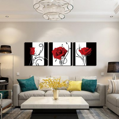 3PCS Abstract Rose Printed Canvas Wall Stickers