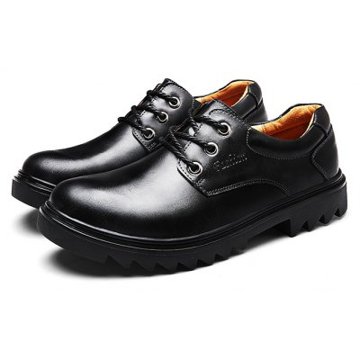 Male Slip Resistance Soft Lace Up Leather Shoes