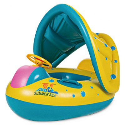 Baby Swimming Pool Boat with Inflatable Canopy Sunshade