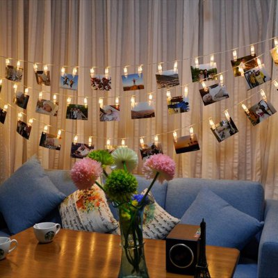 BRELONG LED Photo Clip String Light Battery Powered