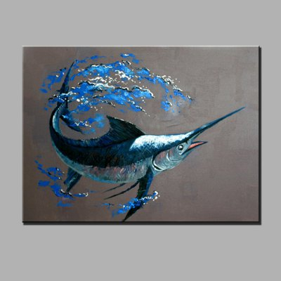YHHP Blue Whale Canvas Oil Painting Modern Art