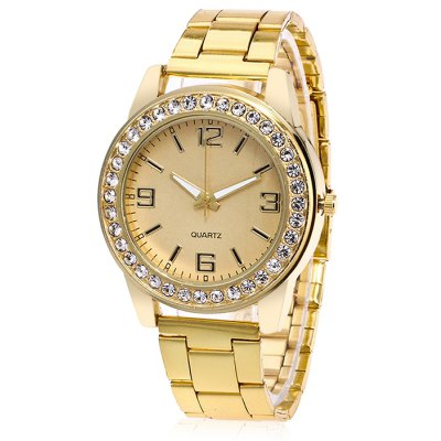 Female Fashionable Quartz Watch with Artificial Diamonds