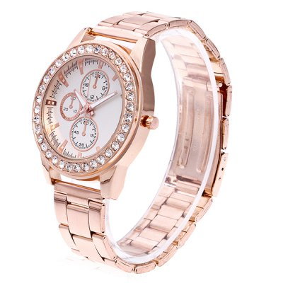 Women Chronograph Quartz Watch with Artificial DiamondsWomens Watches<br>Women Chronograph Quartz Watch with Artificial Diamonds<br><br>Band material: Steel<br>Band size: 24.5 x 2cm<br>Case material: Steel<br>Clasp type: Butterfly clasp<br>Dial size: 3.5 x 3.5 x 1cm<br>Display type: Analog<br>Movement type: Quartz watch<br>Package Contents: 1 x Watch, 1 x Box<br>Package size (L x W x H): 8.00 x 7.50 x 5.50 cm / 3.15 x 2.95 x 2.17 inches<br>Package weight: 0.1000 kg<br>Product size (L x W x H): 24.50 x 3.50 x 1.00 cm / 9.65 x 1.38 x 0.39 inches<br>Product weight: 0.0500 kg<br>Shape of the dial: Round<br>Watch mirror: Acrylic<br>Watch style: Fashion<br>Watches categories: Women<br>Water resistance : No