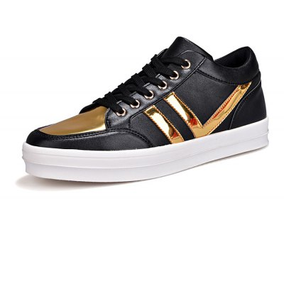 Male Stylish Split Joint Lace Up High Top PU Leather Shoes