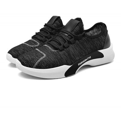Male Knitted Lace Up Light Running Athletic Shoes