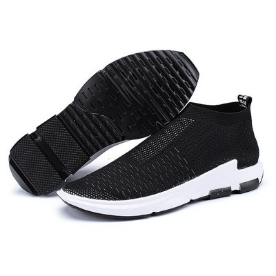 Male Knitted Slip On High Top Running Athletic Shoes