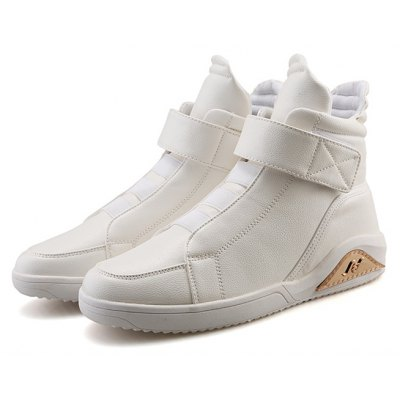 Male Casual Solid Color High Top PU Leather Shoes
