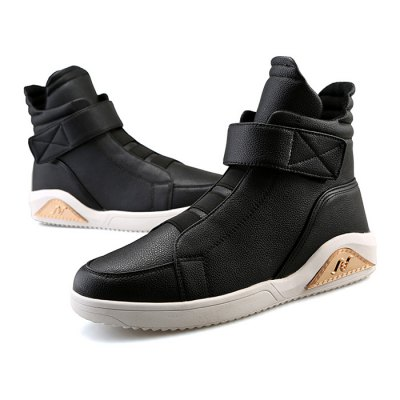 Male Casual Solid Color High Top PU Leather ShoesMen's Sneakers<br>Male Casual Solid Color High Top PU Leather Shoes<br><br>Closure Type: Buckle Strap<br>Contents: 1 x Pair of Shoes<br>Function: Slip Resistant<br>Lining Material: Mesh<br>Materials: Leather, Mesh, PU, Rubber<br>Occasion: Shopping, Holiday, Daily, Casual<br>Outsole Material: Rubber<br>Package Size ( L x W x H ): 31.00 x 25.00 x 11.00 cm / 12.2 x 9.84 x 4.33 inches<br>Package Weights: 1.13kg<br>Pattern Type: Solid<br>Seasons: Autumn,Spring<br>Style: Modern, Leisure, Fashion, Casual<br>Toe Shape: Round Toe<br>Type: Casual Leather Shoes<br>Upper Material: Leather,PU