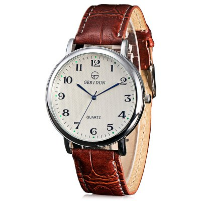 GERIDUN Men Casual Round Dial PU Band Quartz Watch