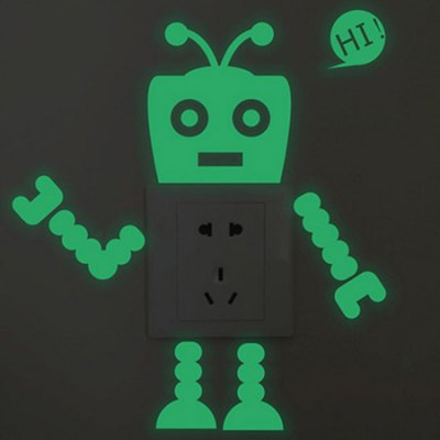 Funny Greeting Robot Switch Sticker