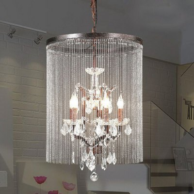 Retro Industrial Style Iron Crystal Chandelier Light 220V
