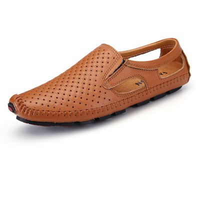 Male Casual Hollow Slip On Leather Boat Doug Shoes