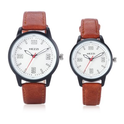 KEZZI 1755 Couple Quartz WatchesCouples Watches<br>KEZZI 1755 Couple Quartz Watches<br><br>Available Color: Black,Brown,White<br>Band material: PU Leather<br>Brand: Kezzi<br>Case material: Alloy<br>Clasp type: Pin buckle<br>Display type: Analog<br>Movement type: Quartz watch<br>Package Contents: 1 x Couple Watches<br>Package size (L x W x H): 25.00 x 4.50 x 1.00 cm / 9.84 x 1.77 x 0.39 inches<br>Package weight: 0.0800 kg<br>Shape of the dial: Round<br>The female dial dimension (L x W x H): 3.2 x 3.2 x 0.8cm<br>The female size (L x W x H): 21.5 x 3.2 x 0.8cm<br>The female watch band dimension (L x W): 21.5 x 1.1cm<br>The female watch weight: 0.0237kg<br>The male dial dimension (L x W x H): 3.8 x 3.8 x 0.9cm<br>The male watch band dimension (L x W): 23 x 1.6cm<br>The male watch size (L x W x H): 23 x 3.8 x 0.9cm<br>The male watch weight: 0.0347kg<br>Watch style: Casual<br>Watches categories: Couple tables<br>Water resistance : Life water resistant