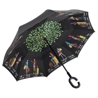 Urban Lifestyle Print Windproof Inverted Double-layer Umbrella pavilion lifestyle