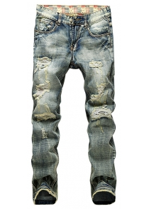 Ripped Slim Fit Tapered Leg Jeans