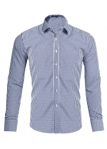 Male Small-Scale Gingham Long Sleeve Shirt