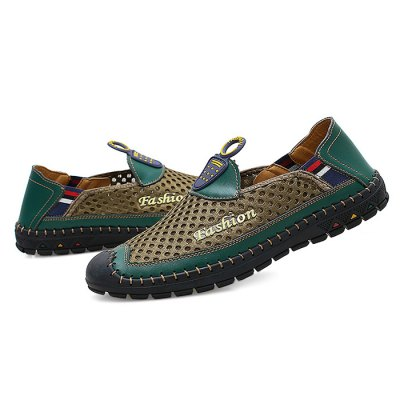 Male Casual Slip On Mesh Soft Flat Leather ShoesCasual Shoes<br>Male Casual Slip On Mesh Soft Flat Leather Shoes<br><br>Closure Type: Slip-On<br>Contents: 1 x Pair of Shoes<br>Function: Slip Resistant<br>Materials: Mesh, Rubber, Genuine Leather<br>Occasion: Shopping, Outdoor Clothing, Daily, Casual, Holiday<br>Outsole Material: Rubber<br>Package Size ( L x W x H ): 33.00 x 22.00 x 11.00 cm / 12.99 x 8.66 x 4.33 inches<br>Package Weights: 0.87kg<br>Pattern Type: Stripe, Letter<br>Seasons: Autumn,Spring,Summer<br>Style: Modern, Leisure, Fashion, Comfortable, Casual<br>Toe Shape: Round Toe<br>Type: Casual Leather Shoes<br>Upper Material: Genuine Leather,Mesh