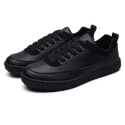 Male Casual Anti Slip Solid Color Lace Up Leather Shoes