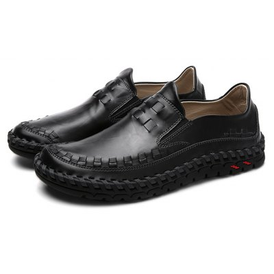 Male Stylish Casual Solid Color Slip On Soft Leather Shoes